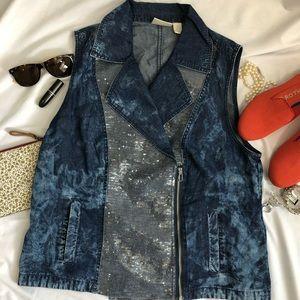 CHICO'S Denim Vest sequins 2 12/14 A18